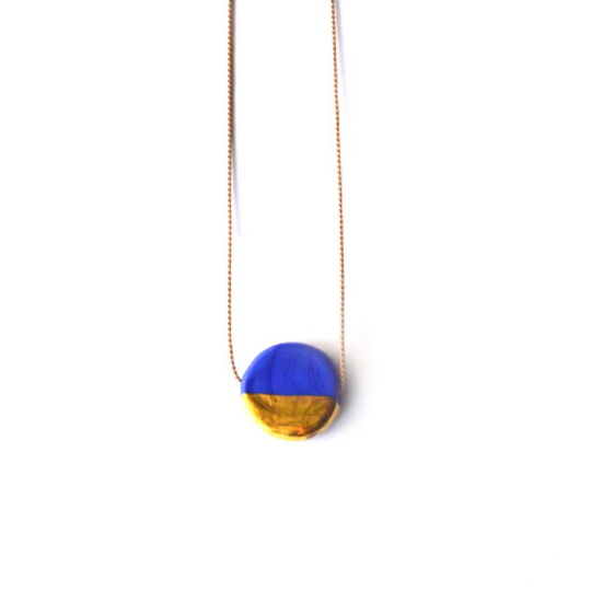 Glass Circle & Gold Silk Necklace
