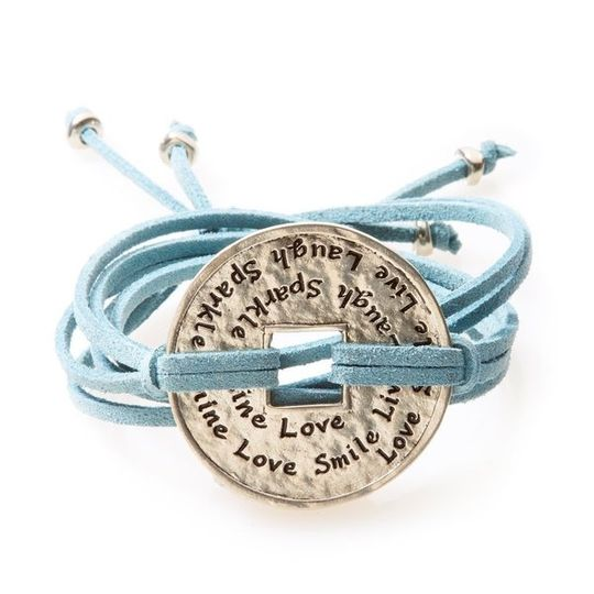 FIERCE Versatile faux suede Bracelet, Necklace & Choker Engraved Coin - Blue