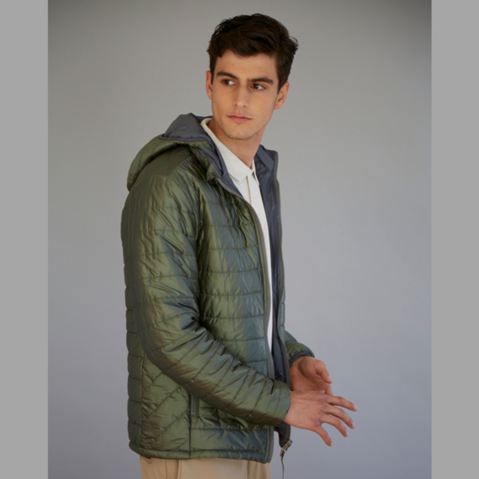 Men's reversible wool filled jacket in Olive and Grey