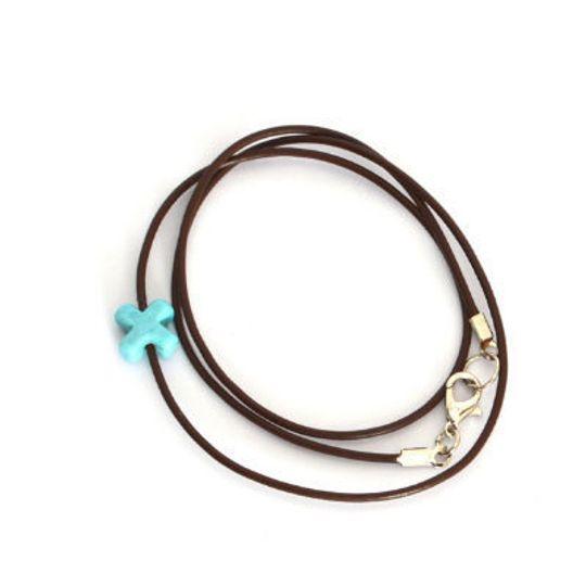 Leather & Glass Cross Bracelet