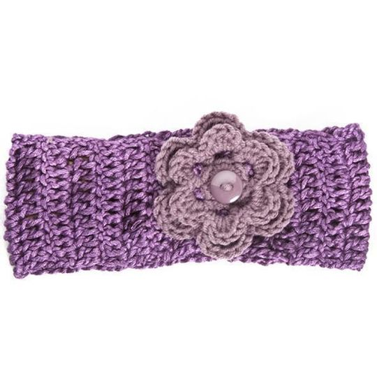 Winter Headband / Girls - Purple with Flower - M0051