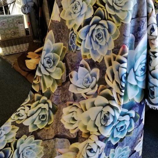 Succulents on Rocks: Table Cloth  / Per Meter