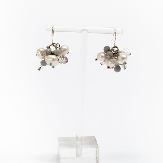 Cluster Earrings - Grey & Pearl
