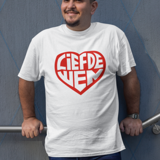 Liefde Wen // Wit T-shirt - Omgekeer Rooi