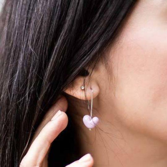 Petite Glass Heart Earrings