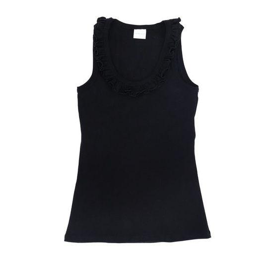 Ladies Sleeveless - Frill Black