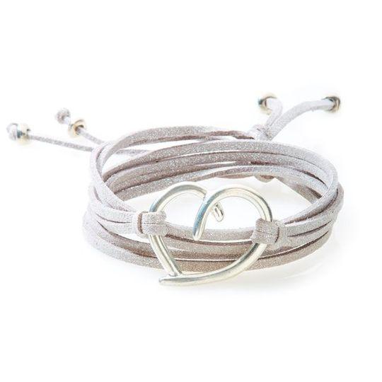 FIERCE Versatile faux suede Bracelet, Necklace & Choker Heart - Silver Shimme