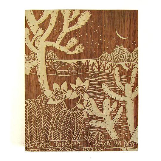 Woodblock Art - Desert Night - Bone White