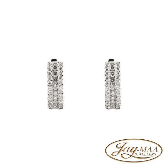 9ct White Gold Huggie Hoop Earrings