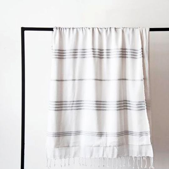 White with grey stripes