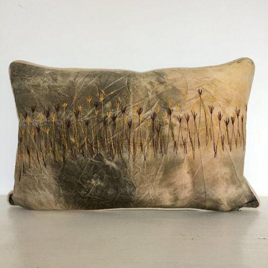 Dusty Bush Sunset Grasslands Cushion Cover (Aqua Blue Velvet back)