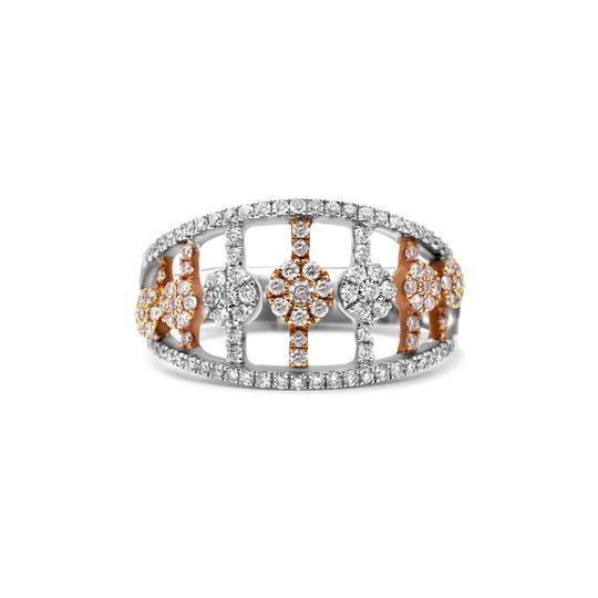 18ct White and Rose Gold Diamond Ring - Flower Garden Design