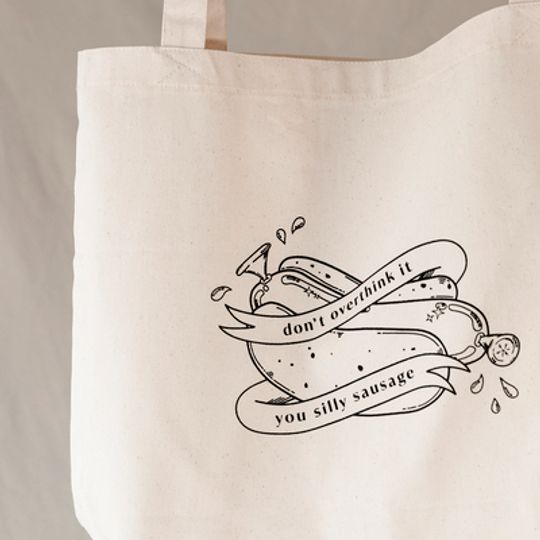 'silly sausage' // tote bag // cream