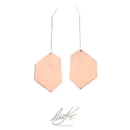 geometric minimalist copper earrings