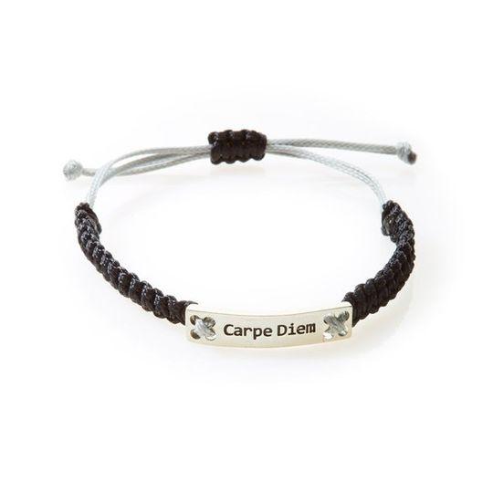 CHAMP Macrame Bracelet Carpe Diem - Black/Light Grey