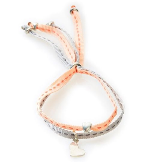 CHEEKY Bracelet with ribbons Heart - Peach/Light Grey