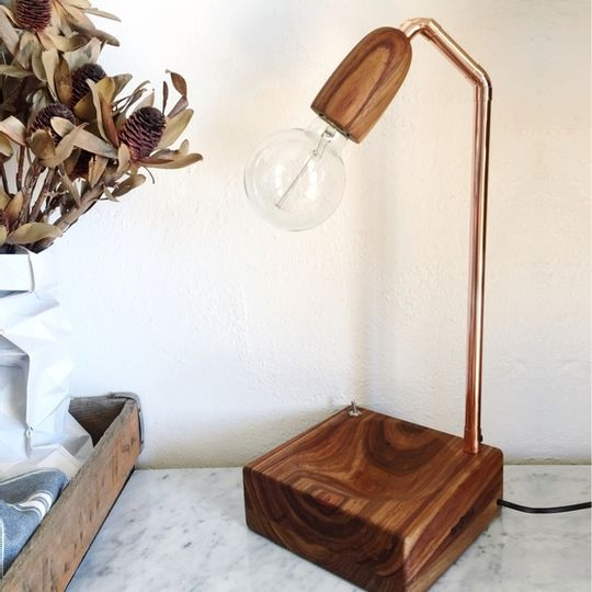 Wood cup bowl lamp