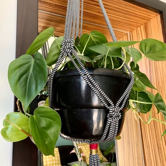 Black Macrame with Thread Detail