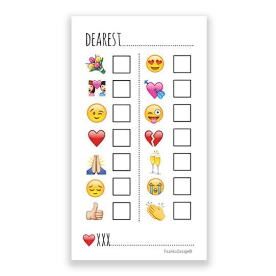 """10 Little Letters - Tick the Box Emojis """"Dearest"""""""