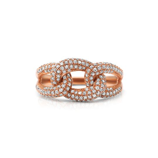 9ct Rose Gold Diamond Ring - Link Design