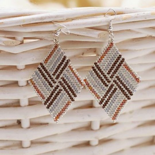 Handmade browns & grey diamond shaped earrings