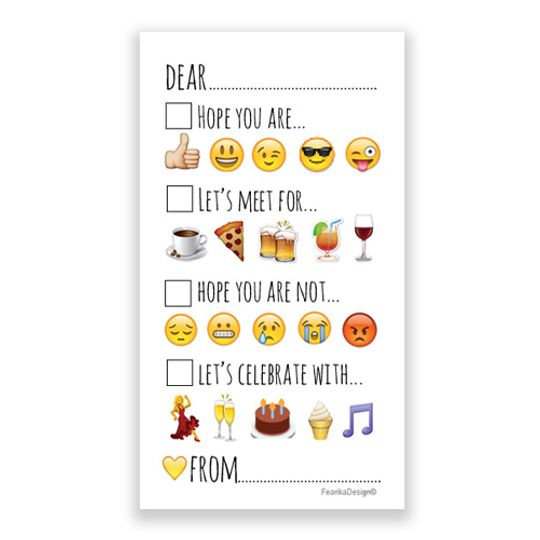 """10 Little Letters - Tick the Box Emojis """"Dear"""""""