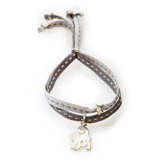 CHEEKY Bracelet with ribbons Monkey - Dark grey/Light Grey
