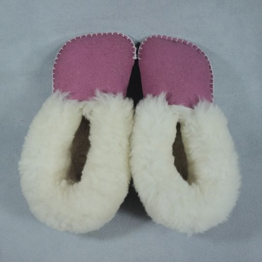 Handmade sheepskin slippers - Pink
