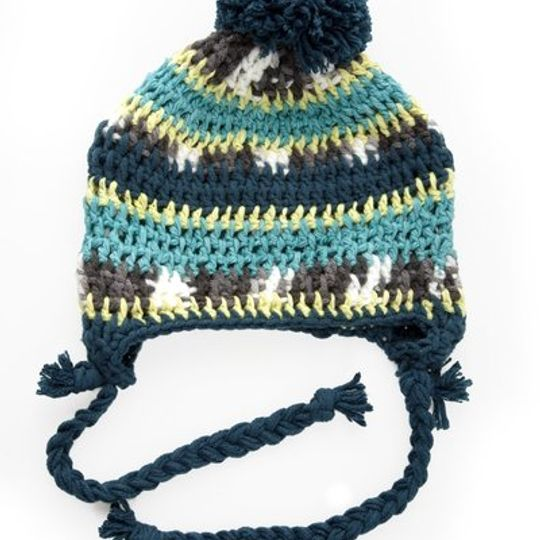 Beanies / Boys - Lime and Teal Stripe - M0111