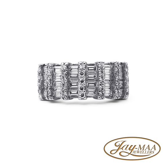 Sterling Silver Cubic Zirconia Ring - The Ultimate Bridal Eternity