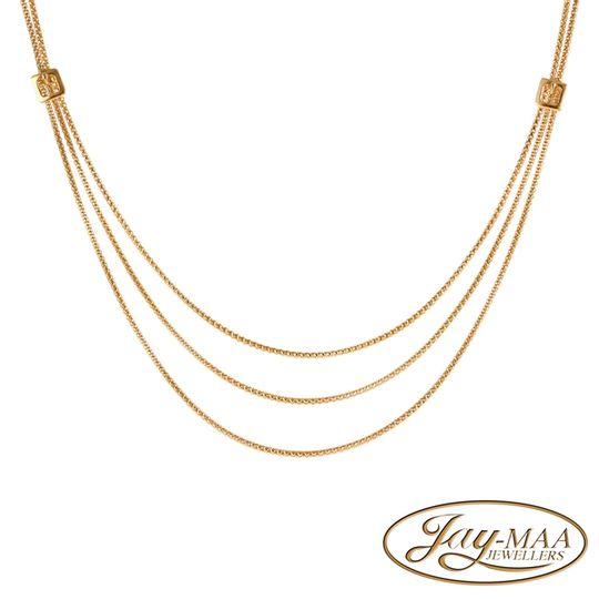9ct Yellow Gold Layered Popcorn Italian Necklace