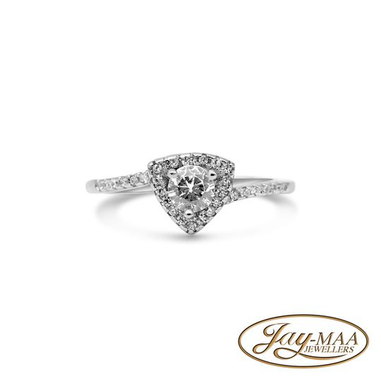 Sterling Silver Cubic Zirconia Ring - Trillion Halo
