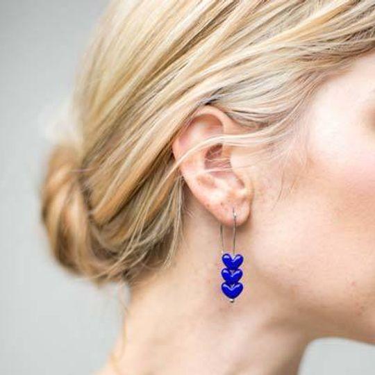 Triple Nunu Glass Heart Earrings