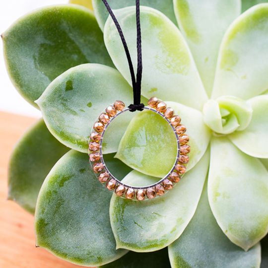 Beaded Hoop Necklace with Adjustable String