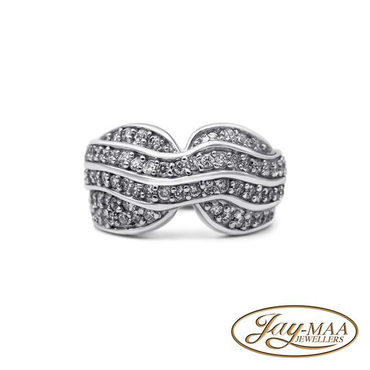 Sterling Silver Cubic Zirconia Ring - The Big Wave