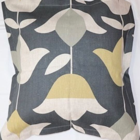 Grey and mustard tulip cushion cover