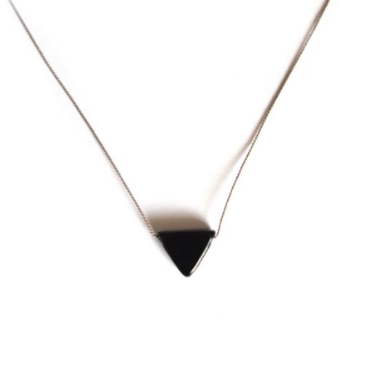 Glass Triangle & Silk Necklace