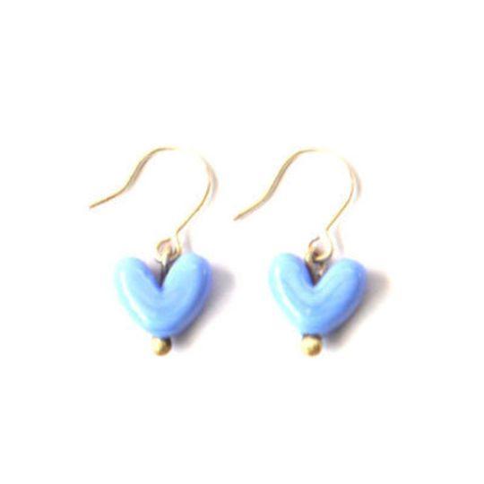 Glass Nunu Hearts Dangle Earrings