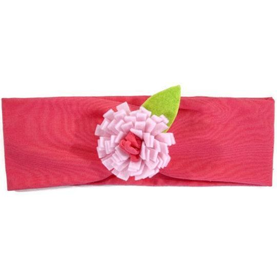 Headband / Girls - Bright Pink with Light Pink Flower - M0042