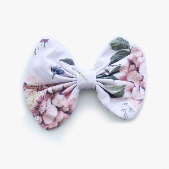 Hair Clip Botanical - White & Purple