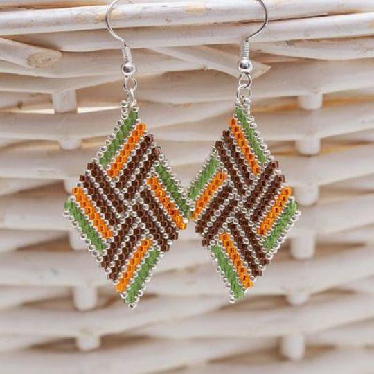 Handmade green, orange & brown striped earrings