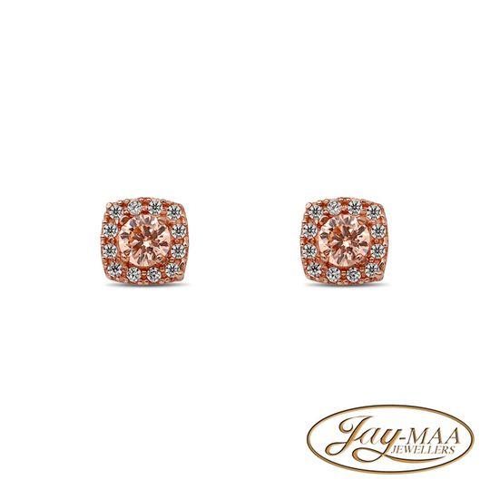 9ct Rose Gold Cubic Zirconia Morganite Earrings-Cushion Halo