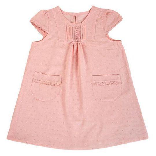 Dress / Girls - Salmon with Lace - M0336