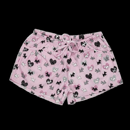 Girls Short Pants - Pockets Scotty Dogs Pink