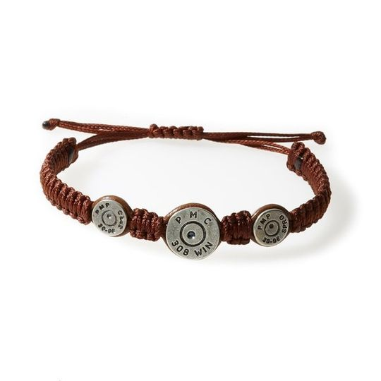 MAVERICK Macrame & leather Bracelet with Bullets Brown thread - Tobacco leather