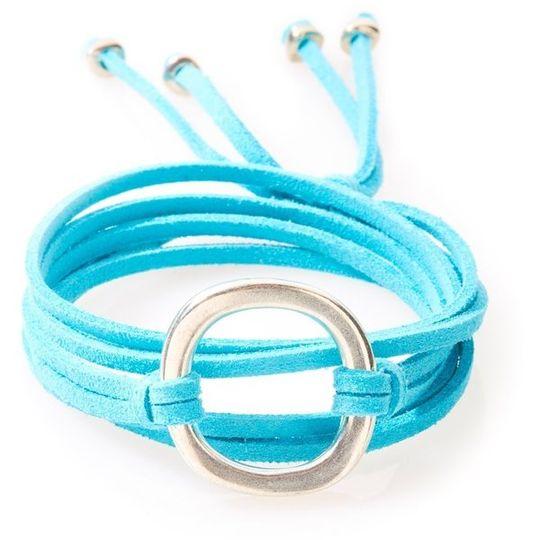 FIERCE Versatile faux suede Bracelet, Necklace & Choker 1 Circle - Turquoise