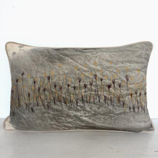 Stormy Skies Wetlands Cushion Cover (Aqua Blue VELVET back)