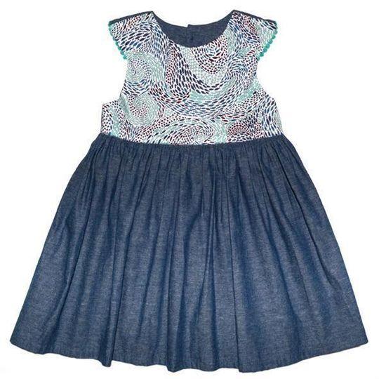 Dress / Girls - Denim and Blue Fish Swirl - M0390