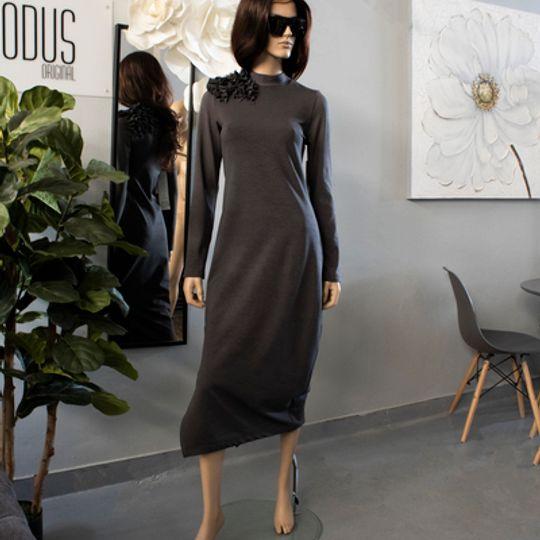 Grey Knit Ribbed dress