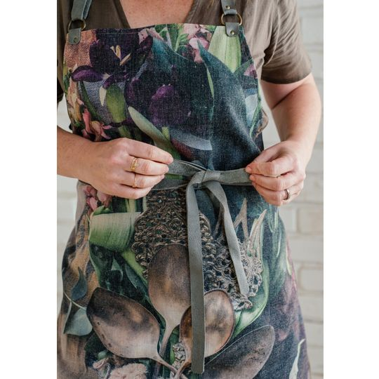 Apron - Flowers with Antique Spoons